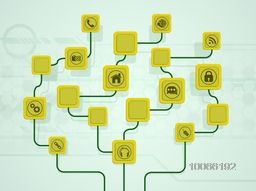 Technology concept with illustration of various web icons on abstract background.