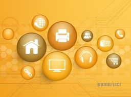 Set of web icons in glossy spheres for Technology concept on hi-tech background.