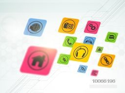 Colorful web icons on hi-tech background for Technology concept.