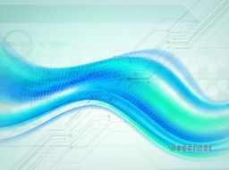 Shiny abstract waves on blue hi-tech background for Technology concept.