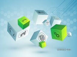 Various web icons on shiny 3D cubes, hi-tech background for Technology concept.