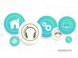 Shiny web icons in rounded circles on hi-tech background for Technology concept.