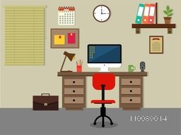 Flat interior design of a Work Space.