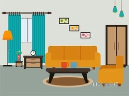 Living room interior design in flat style.