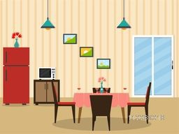 Flat desing interior of a dining room.