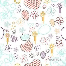 Retro seamless pattern of floral design, hearts, balloons and flowers.