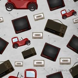 Seamless pattern with retro television, cassatte and jeep.
