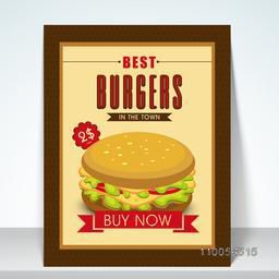 Restaurant fast food retro menu card design with burger.