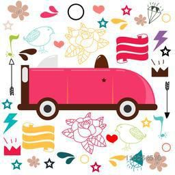 Collection of colorful doodles with kiddish car.