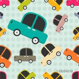 Seamless pattern with retro multicolor cars.