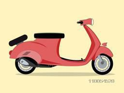 Retro scooter isolated on yellow background.