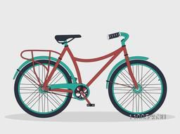 Retro bicycle isolated on shiny grey background.