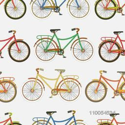 Seamless pattern with retro bicycles.