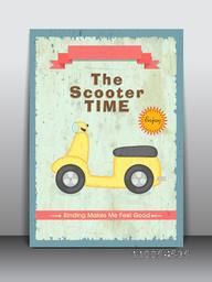 Vintage scooter flyer, banner or poster design.