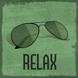 Fashionable sunglasses with text Relax on retro grungy background.