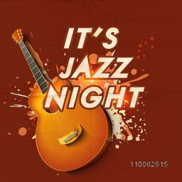 Poster, banner or invitation for Jazz Night Party celebration with creative glossy guitar on colorful splash background.