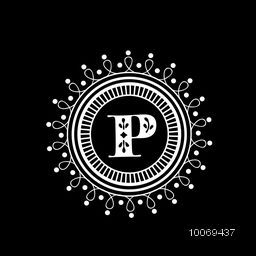 Stylish premium monogram design with English Alphabet P in a floral decorated rounded frame on black background.