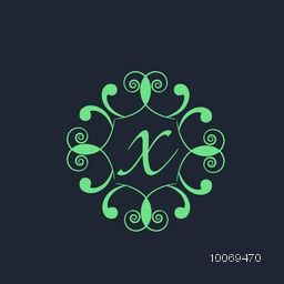 Creative premium monogram design with shiny green floral frame and English Alphabet X on blue background.