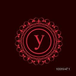 Beautiful red floral frame with English Alphabet Y for stylish premium monogram design.