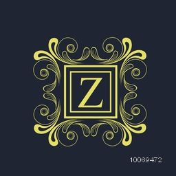Creative premium monogram design with English Alphabet Z in beautiful floral pattern decorated frame on blue background.
