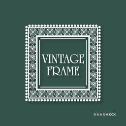 Creative stylish floral design decorated square shape frame with space for your wishes on green background.