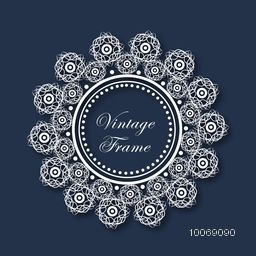 Floral design decorated beautiful rounded vintage frame with space for your wishes.