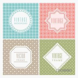 Set of different vintage frames on colorful seamless pattern.