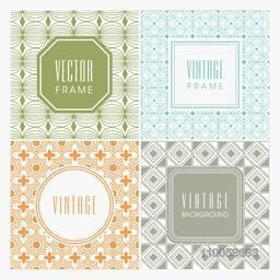 Beautiful seamless patterns with blank frames in different shapes.