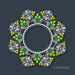 Beautiful floral design decorated blank frame in rounded shape.