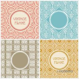 Blank vintage frames set with colorful seamless pattern.