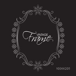 Beautiful floral design decorated vintage frame on black background.