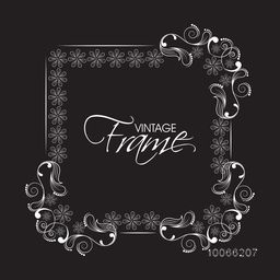Beautiful square shaped vintage frame decorated with creative floral pattern on black background.