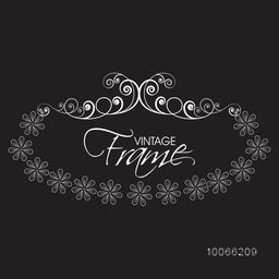 Beautiful vintage frame decorated with creative floral pattern on black background.