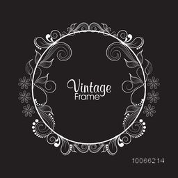 Beautiful floral design decorated rounded vintage frame on black background.