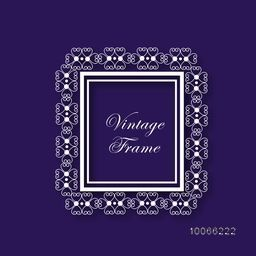 Stylish square shape vintage frame with floral design on purple background.
