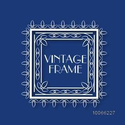 Creative leaves decorated beautiful square shape frame on blue background.