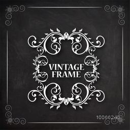 Stylish vintage frame with beautiful floral design created by white chalk on blackboard background.