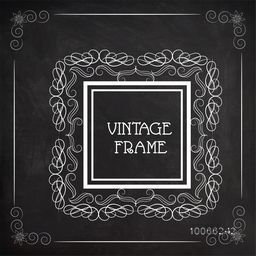 Beautiful square shape frame decorated by floral design on blackboard background. Can be used as greeting card or invitation card design.