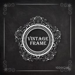 Floral design decorated beautiful rounded vintage frame on blackboard background.