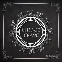 Floral design decorated beautiful rounded vintage frame on blackboard background. Can be used as greeting card or invitation card.