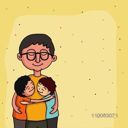 Smiling father loving and hugging his kids on hearts decorated yellow background for Happy Father's Day celebration concept.