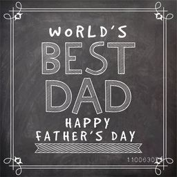 Stylish text World's Best Dad drawn by white chalk on blackboard background for Happy Father's Day celebration, can be used as poster, banner or flyer design.