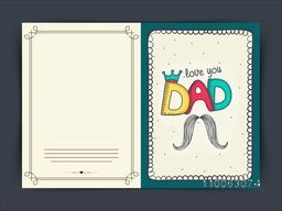 Stylish greeting card design with colorful text Dad in crown, and mustache for Happy Father's Day celebration.