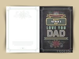 Beautiful floral design decorated greeting card with stylish text Love You Dad in chalkboard style for Happy Father's Day celebration.