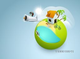 Creative illustration of city on green globe for Save Nature concept.