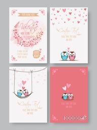 Happy Valentine's Day Greeting or Invitation Card set, Celebration festive background with floral design and hearts, Creative template collection for Banners, Flyers, Placards, Posters and other use.
