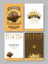 Thanksgiving Day Greeting or Invitation Card set, Celebration background with turkey bird, vegetables and maple leaves, Template collection for Banners, Flyers, Placards, Posters, Hand drawn vector.