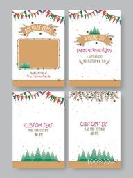 Hand drawn Greeting or Invitation Card set with space for wishes, Holiday festive background with floral elements, Creative template collection for Banners, Flyers, Placards, Posters and other use.