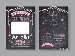 Hand drawn Greeting or Invitation Card set with space for wishes, Birthday, Baby Shower, Kids Party, Holidays celebration festive background, Creative line art vector illustration in chalkboard style.