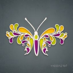 Beautiful floral design decorated butterfly on grey background.